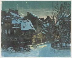 """Die alte Salzgasse in Dresden, nach einem Ölbild von 1929. Hans Körnig, """"Die alte Salzgasse in Dresden"""", 1939, Linolschnitt in 4 Farben"""