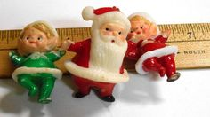 Vintage Mid Century Modern celluloid 3 pc Santa & elves cake #Vintage#celluloid 3 pc #Santa & #elves #cake or #cupcake #toppers #Christmas #elf #red #green #Holiday #party #decor #favors #retro #etsy #collectables #studio