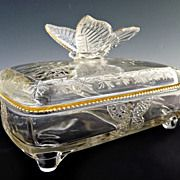 Vintage glass butterfly candy card box Jeannette Glass c. 1950