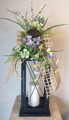 SPRING WOODLAND - Decorative Easter/Spring Lantern Swag Tabletop Arrangement by DecorClassicFlorals, $ 44.95 on Etsy