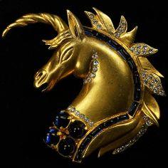 Hattie Carnegie Jewels of Fantasy Gold and Sapphire Unicorns Head Pin Clip