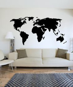 Wall Spirit World Map Decal  Maybe add little flags or dots to the places you've been or have had visitors from