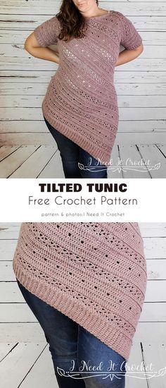 Crochet Tunic Pattern, Crochet Shirt, Free Crochet Top Patterns, Crochet Sweaters, Crochet Tops, Diy Crochet Clothes, Free Crochet Sweater Patterns, Tunic Dress Patterns, Kids Crochet
