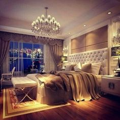 Wow talk about a glam bedroom. Love how romantic this bedroom !!