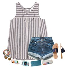 """""""School starts in two days❤️"""" by kvonhoffmann ❤ liked on Polyvore featuring Olive + Oak, Levi's, André Assous and Ray-Ban"""