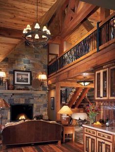 Beautiful log cabin living room with a loft! Wonderful fireplace~ Home sweet home Style At Home, Design Living Room, Living Area, Design Room, Living Rooms, Log Cabin Homes, Log Cabins, Design Furniture, Cabin Furniture