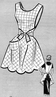 Commercial Pattern Archive: Vintage Sewing: Anne Adams 4745 c.1949 Misses Apron. Click on broken link for pattern pieces