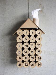 Advent calendar made from toiletpaper rolls