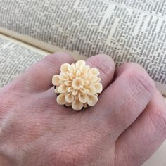 Vintage Inspired Cream Flower Statement Ring // Adjustable Ring by MonicaRudyJewelry