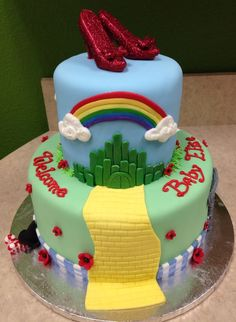 Wizard of Oz cake featuring chocolate ruby slippers covered in disco dust.