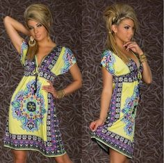 NEW Fashion Retro Vintage Paisley Print V Neck Hippie Bohemian Summer Dress Women Beach Dress M XXL