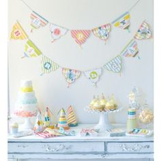 vintage birthdayt pennant banner | Patterned Party Banner | 11ft for $8.13 in Banners & Garlands ...
