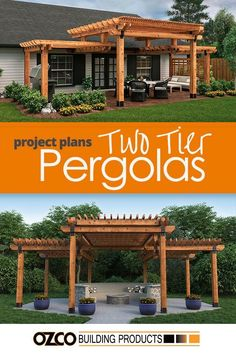 Adding beauty and style to your home has become much easier with a two-level or two-tier pergola. The bold and beautiful design of a multi-level structure will improve not only the outside space but also add interest to the entry points of your home. Diy Pergola, Pergola Canopy, Outdoor Pergola, Wooden Pergola, Pergola Ideas, Cheap Pergola, Gazebo, Pergola Lighting, Front Porch Pergola
