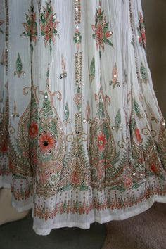 Vintage 70s Bohemian Festival White India Feather Print & Mirror Chip Sequins Gauze Maxi Skirt by vampofvintage on Etsy