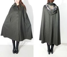 Vintage Dark Green Hooded Wool Cape by JustGiza on Etsy