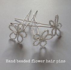DIY Tutorial: Hand-beaded Flower Hair Pins