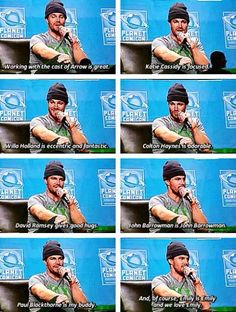 Stephen Amell #PlanetComicCon  I don't usually repin pins with multiple images, but I did this one because I WAS THERE.  YEAH!  He's too sweet!