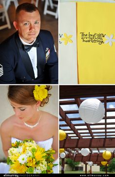 Yellow and White themed wedding | Bride with yellow flower in hair | Groom in blue military uniform | White and Yellow chinese lanterns |  Photo by: Eli Murray Weddings
