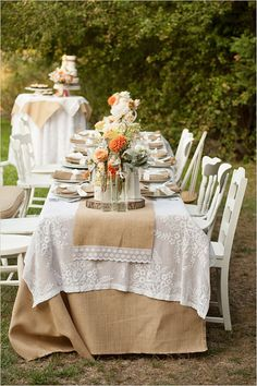 outdoor rustic lace and burlap wedding reception ideas #elegantweddinginvites