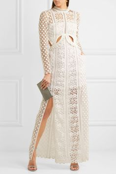 Self-Portrait - Ruffled Cutout Guipure Lace Gown - White - UK12