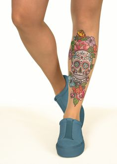 Sugar Skull & Flowers Tattoo Printed Tights & Pantyhose | Online Store – Stop & Stare Designs Co