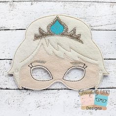 Queen Elsa Felt Mask Embroidery Design  5x7 by GracefullyGeeky