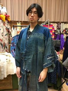 Late 1800 antique indigo rain cape and indigo Boro kimono ☆ Thanks a lot to this handsome young Chinese man to be such a great model! 😍 So Stylish + Cool! ♡   http://www.fujikimono.co.uk/kimono/indigo-boro-kimono-ranru.html  #kimono #kimonojacket #FujiKimono #kawaii #cosplay #HYPERJAPAN #vintage #antique  #textile #costume #oriental #indigo #boro #hakama #fashion #Japon #Japonisme  #wearableart #upcycle #sustainable #tabi #tabiboots #dojo