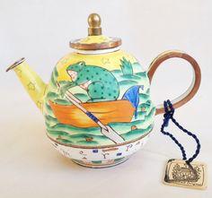 Frog in a boat - Merrily, Merrily - Charlotte di Vita teapot; nivagcollectables.co.uk