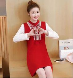 Wholesale price: US$ 14.57 Cheapest New Fashion Big Size Stitching Long Sleeves Dress Red