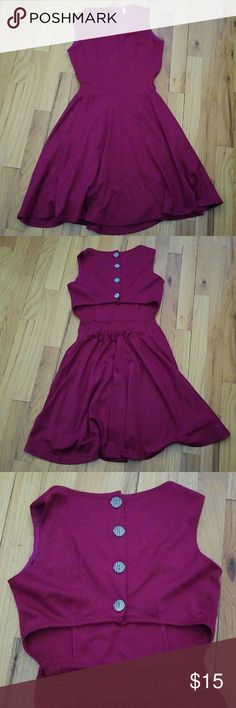 """Modcloth Cocolove Openback Skater Dress Pre-owned and in great condition, Cocolove openback skater dress. Fuschia/purple color. Size S. Open back with 4 button detail (does not unbutton). Elastic on waist/back. 78% polyester, 19% rayon, 3% spandex. Lining 100% polyester. Hand wash normal, line dry. (See pic of snag on the inside of the dress - not noticable and doesn't affect dress at all). Purchased from Modcloth.  15"""" bust laying flat armpit to armpit. 12.5"""" top to waist. 11"""" waist (band)…"""