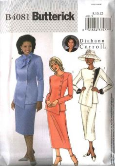 Butterick Sewing Pattern 4081 Misses Size 14-16-18 Side Buttoned Jacket Straight Short Long Skirt   Butterick+Sewing+Pattern+4081+Misses+Size+14-16-18+Side+Buttoned+Jacket+Straight+Short+Long+Skirt