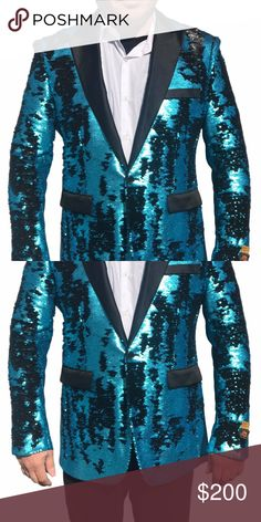 Turquoise Black Sequin Single Breasted XS to Light Turquoise, Light Blue, Prom Blazers, Black Peas, Mens Fashion, Fashion Tips, Fashion Trends, 1 Button, Sports Jacket
