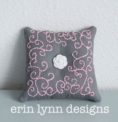 Hand Embroidered Gray Pin cushion with Pink Scrollwork Embroidery on Etsy, $20.00