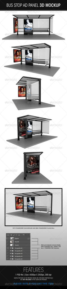 Bus Stop Ad Panel 3D Mockup  -  PSD Template • Download ➝ https://graphicriver.net/item/bus-stop-ad-panel-3d-mockup/5756973?ref=pxcr