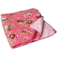 Pink Cottage Rose Quilted Double Bedspread