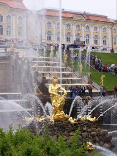 Peterhof palace's Grand Cascade  fountain and Samson Statue Russia