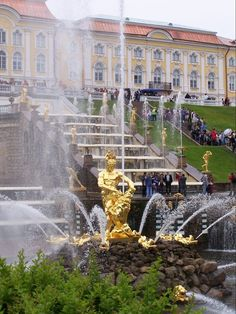 Peterhof palace's Grand Cascade  fountain and Samson Statue Russia