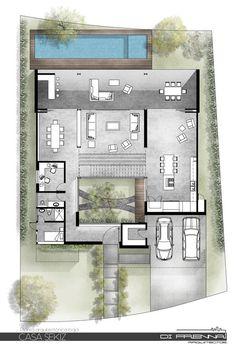 Image 9 of 28 from gallery of Casa SEKIZ / Di Frenna Arquitectos. Photograph by Felipe Reyes De La Madrid Courtyard House Plans, Facade House, House Floor Plans, Layouts Casa, House Layouts, Villa Design, Minimalist House Design, Modern House Design, Home Design Plans