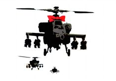 Banksy Army Helicopter Red Ribbon