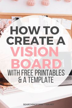 Create A Vision Board For Learn step by step how to use the law of attraction and create the u - - Inspiration and tips on creating a vision board for Vision boards are a great way to get the law of attraction to work for your goals! Vision Board Template, Digital Vision Board, Vision Board Ideas Diy, Bullet Journal Vision Board, Planner Free, Goal Board, Creating A Vision Board, Visualisation, Images And Words