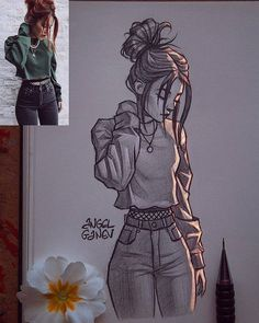 Discover recipes, home ideas, style inspiration and other ideas to try. Art Drawings Sketches Simple, Girl Drawing Sketches, Girly Drawings, Girl Sketch, Pencil Art Drawings, Easy Drawings, Manga Drawing, Drawing Tips, Awesome Drawings