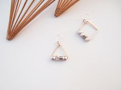 Asymmetry Silver Cube with a Ball-end Earrings