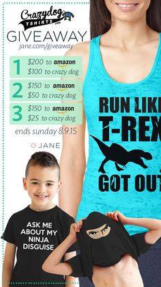 I entered the Jane.com #Giveaway for a chance to win an Amazon Gift Card and Store Credit to CrazyDog Tshirts!