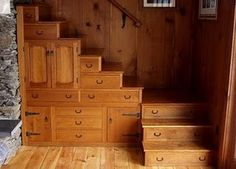 Storage stairs in a basement