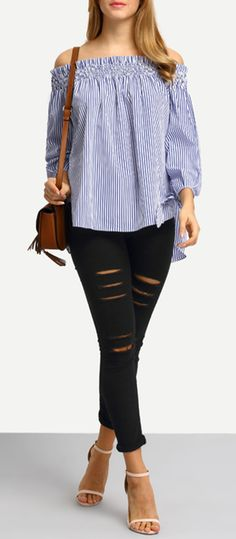 Blue White Stripe Off The Shoulder Tie Cuff Blouse