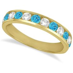 Allurez Channel-Set Blue Topaz & Diamond Ring Band 14k Yellow Gold... (€1.070) ❤ liked on Polyvore featuring jewelry, rings, yellow gold diamond ring, wedding rings, 14k gold ring, diamond accent rings and gold wedding rings