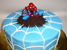 Spiderman Cake - COOKING - another way to make a spiderman cake