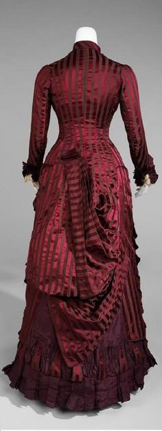1880 striped brocade  FOLLOWING THIS LINK WOMAN HAS PORNOGRAPHY BEFORE ANY PHOTOS OF THIS DRESS WERE FOUND