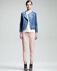 Vintage Denim Moto Jacket, Sleeveless Poplin Blouse & Slub-Twill Cropped Pants by HELMUT at Neiman Marcus.
