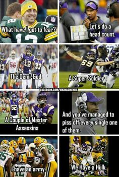 Vikings vs Packers meme. This is awesome, and would have been better had we won.